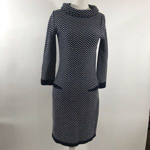 Boden blue white knit dress w pockets sz 4